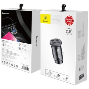 АЗУ Baseus Grain Car Charger 3.1A Black