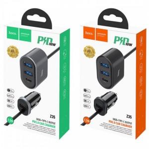 АЗУ HOCO Z35 Companheiro 1LighterPlug/2USB/1PD/3A/PD2.0/QC3.0/LED Black