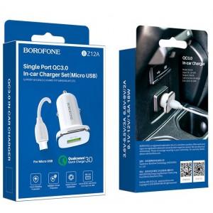 АЗУ BOROFONE BZ12A Lasting QC3.0 + Cable Micro 1USB/3A white