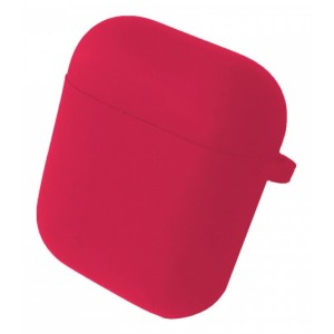 Чехол for AirPods 1/2 SILICONE CASE/MICROFIBER Hot pink