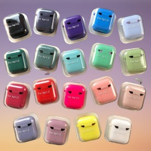 Чехол for AirPods 1/2 SILICONE CASE/MICROFIBER Party green