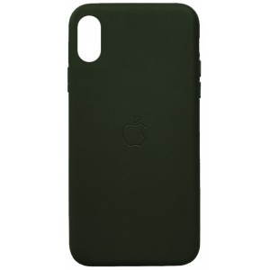 Накладка Leather Case Full for iPhone X/XS green