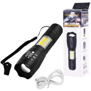 Фонарь Police 1831-T6+COB, ЗУ micro USB, встроенный аккумулятор, zoom, ремешок