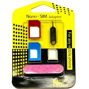 Переходник 5 в 1 microSIM ,nanoSIM color
