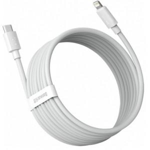 PD кабель Baseus Simple Wisdom Data Cable Kit Type-C to iP PD 20W (2ШТ/Set)1.5m White