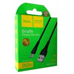 Кабель HOCO DU24 GIRAFFE Charging Data Cable for Micro long pin(8mm)/2,4A/1m. Black