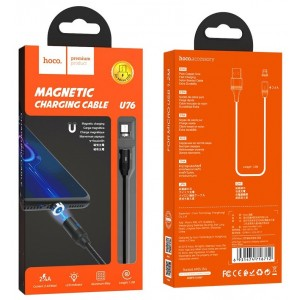 Кабель HOCO U76 Fresh MAGNETIC for Lightning 2A/1,2m. Black