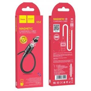 Кабель HOCO X52 Sereno magnetic charging cable for Lightning 2A/1m. Black