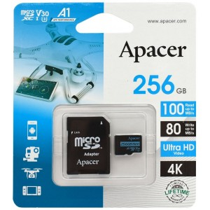 microSDXC (UHS-1 U3) Apacer 256Gb class 10 V30 R100MB/s (adapter SD)