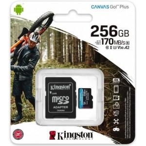 microSDXC (UHS-1 U3) Kingston Canvas Go Plus 256Gb class 10 A2 V30 (R170MB/s, W90MB/s) (adapter SD)