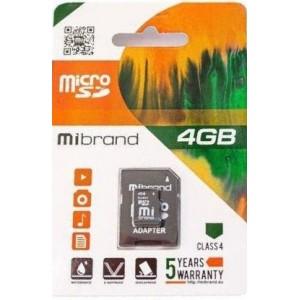 microSDHC Mibrand 4Gb class 4 (adapter SD)