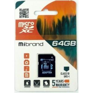 microSDXC (UHS-1) Mibrand 64Gb class 10 (adapter SD)