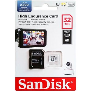 microSDXC (UHS-1 U3) SanDisk High Endurance 32Gb class 10 V30 (100Mb/s) (adapterSD)