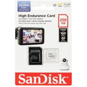 microSDXC (UHS-1 U3) SanDisk High Endurance 256Gb class 10 V30 (100Mb/s) (adapterSD)
