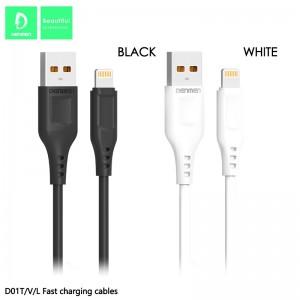 Кабель Denmen D01L USB - Lightning 2.4A/1m Black