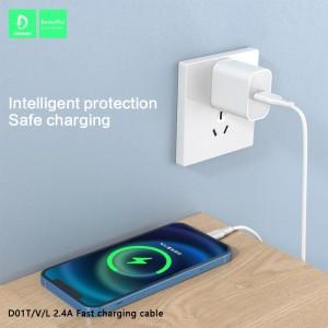 Кабель Denmen D01L USB - Lightning 2.4A/1m White