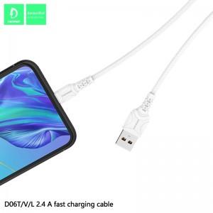 Кабель Denmen D06T USB - Type-C 2.4A/1m White