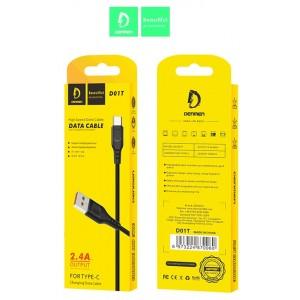 Кабель Denmen D01T USB - Type-C 2.4A/1m Black