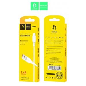 Кабель Denmen D01T USB - Type-C 2.4A/1m White