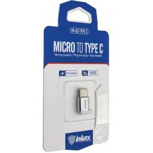 Переходник INKAX PA-02 Micro USB - Type-C Silver
