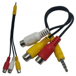 Кабель Audio-Video 3,5 jack-3 RCA мама 20 см Black