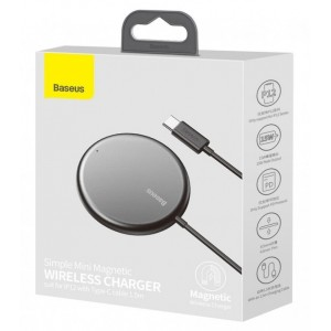 Беспроводное ЗУ Baseus Simple Mini Magnetic Wireless Charger Black WXJK-F01