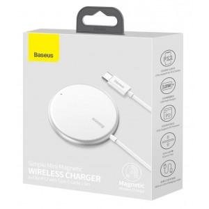 Беспроводное ЗУ Baseus Simple Mini Magnetic Wireless Charger White WXJK-F02