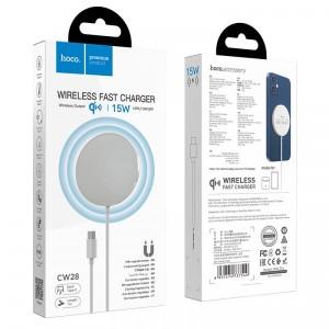 Беспроводное ЗУ HOCO CW28 Original magnetic wireless fast charger MagSafe/15W White