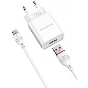 СЗУ BOROFONE BA20A Sharp 1USB/2.1A+ Cable Micro white
