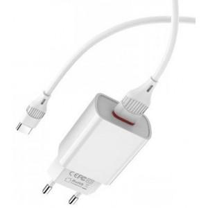 СЗУ BOROFONE BA20A Sharp 1USB/2.1A+ Cable Type-C white