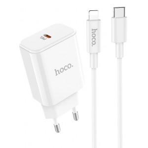СЗУ HOCO C71A Star Speed PDout/18W/QC3.0/PD3.0/Type-C to Lightning Cable White